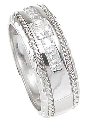 Mens  Silver Wedding Band