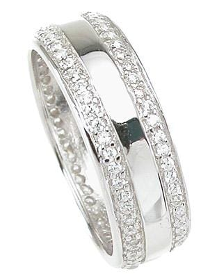 Sterling Silver CZ Wedding Band Ring for Men and Women