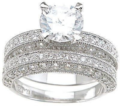 Stunning Vintage Style CZ Wedding Engagement Ring Set in Sterling Silver
