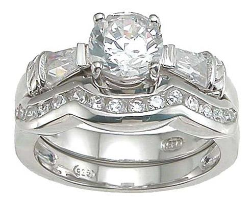 Unique Solitaire Art Deco Sterling Silver CZ Wedding Ring Set