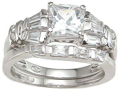Silver CZ Princess Cut Wedding Set - LaRaso & Co - 1
