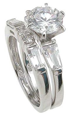 Sterling Silver CZ Engagement Wedding Ring Set
