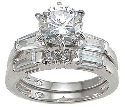 Sterling Silver CZ Engagement Wedding Ring Set - LaRaso & Co - 1