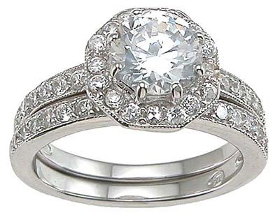 Halo CZ Wedding Engagement Ring Set