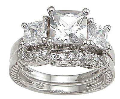 Princess Cut Cubic Zirconia Wedding Set for Women