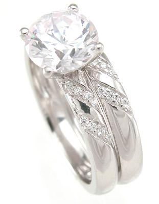 Brilliant Solitaire CZ  Sterling Silver Wedding Engagement Ring Set