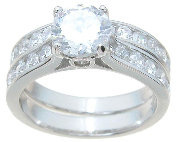 Affordable CZ Wedding Engagement Rings Sets