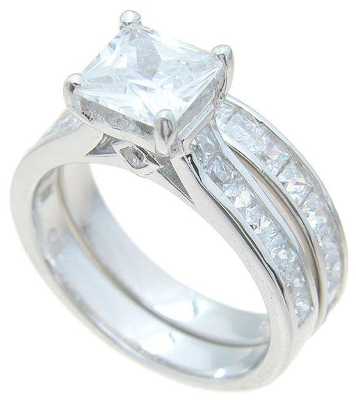 Princess Cut Cubic Zirconia Wedding Engagement Ring Set in Sterling Silver