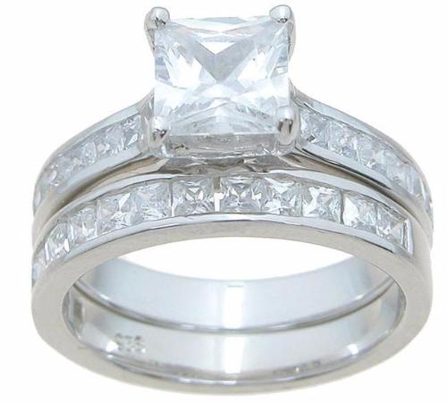 Sterling Silver Princess CZ Wedding Set - LaRaso & Co - 3