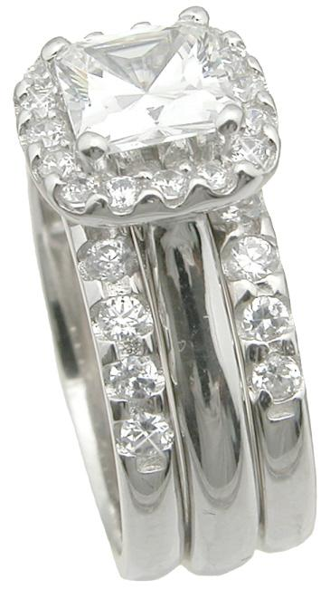 Princess Cut CZ Halo Setting Trio Wedding Engagement Ring Set Sterling Silver