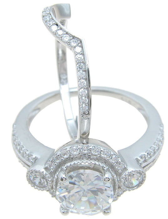Unique Antique Vintage Style CZ Wedding Engagement Ring Set Sterling Silver