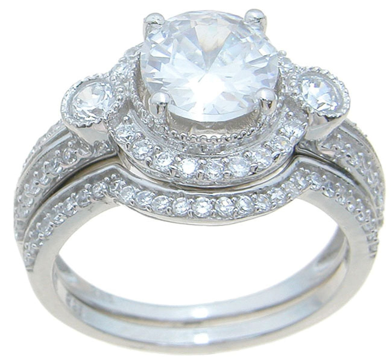 Vintage Style Silver CZ Wedding Engagment Ring Set