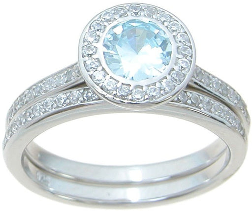 Simulated Light Blue Topaz CZ Wedding Engagement Ring Set in Sterling Silver