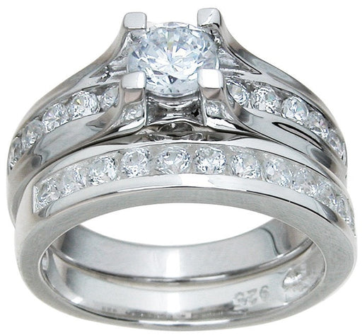 1/2 Carat Solitaire CZ Wedding Engagement Ring Set in Sterling Silver for Women
