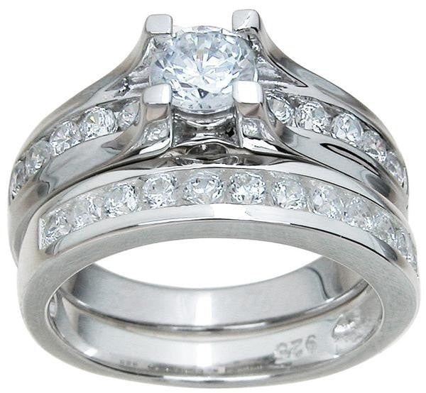 Him and Her Wedding Rings Sterling Silver Wedding Bands Set His Hers