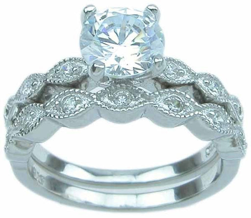 Beautiful Solitaire CZ Wedding Engagement Ring Set for Women