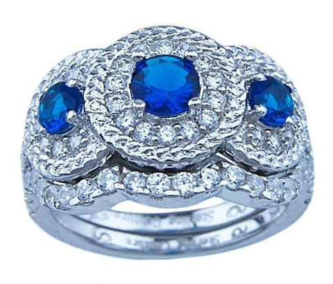 Vintage Style Simulated Sapphire CZ Wedding Set for Women