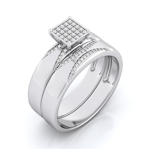 Micro Pave 1 Carat CZ Sterling Silver Wedding Engagement Bridal Ring Set