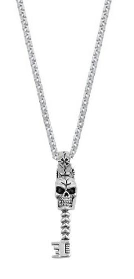 Sterling Silver Skeleton Key Pendant Necklace (18 Inch)