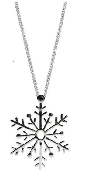 Sterling Silver Large Snowflake Pendant Chain Womens Jewelry Necklace