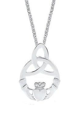 Sterling Silver Celtic Claddaugh Pendant Necklace