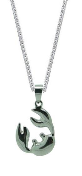 Sterling Silver Open Claw Crab Pendant Chain Womens Jewelry Necklace (I8 Inch)