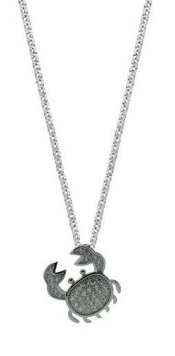 Sterling Silver Crab Pendant Chain Womens Jewelry Necklace (W/ 18 Inch Chain)