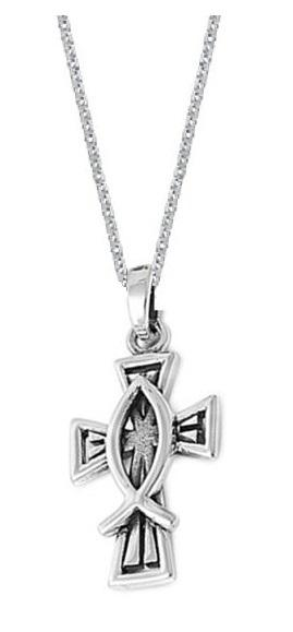 Sterling Silver Christian Fish Cross Pendant Charm Necklace with 18 Inch Chain