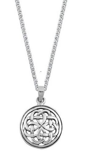 Sterling Silver Celtic Knot Triangle Pendant Necklace (18 Inch)