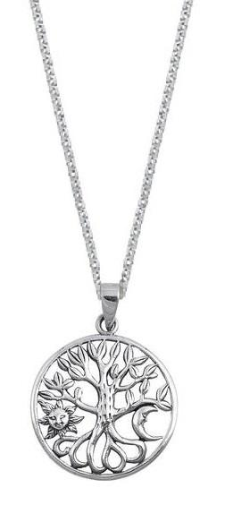 Sterling Silver Sun Moon Tree of Life Pendant Necklace (w/ Chain) 18 Inch