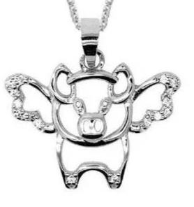 Sterling Silver When Pigs Fly  Pendant Chain Necklace for Women
