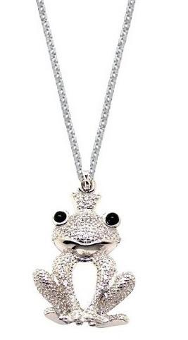 Sterling Silver Frog Pendant Chain Necklace for Women (18 Inch)