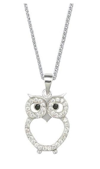 Sterling Silver Owl Pendant Chain Womens Jewelry Necklace (18 Inch)
