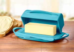 Large Aqua Butter Dish or Large Turquoise Butter Dish