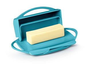 Turquoise Butter Dish with Hinged Lid