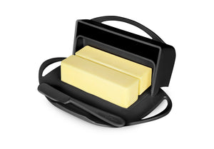 Black butter dish holds 2 sticks