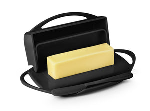 Black Butter Dish with Knife