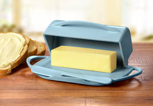 Large Blue Butter Dish