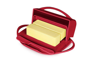 Red butter dish holds 2 sticks