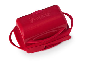 Red butter dish with lid for countertop