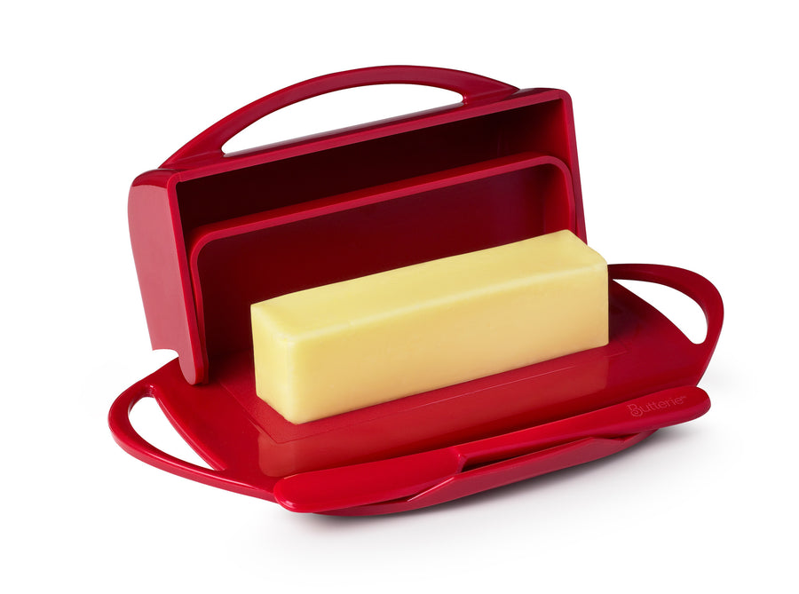 Large Red Butter Dish