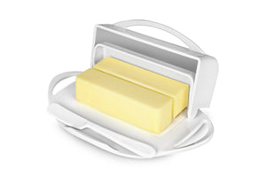 white butter dish holds 2 sticks