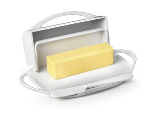 White Butter Dish with Knife