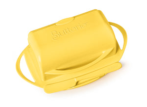 Yellow butter dish with lid for countertop