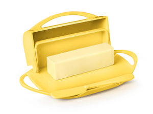 Yellow Butter Dish with Knife