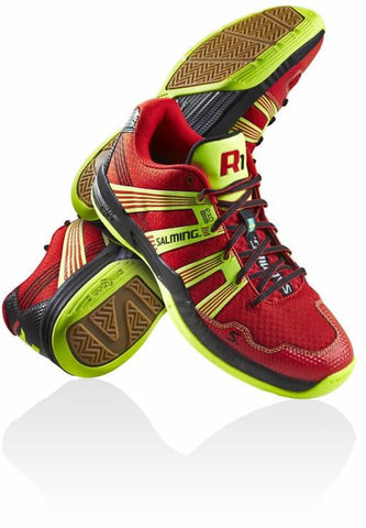 Salming Race R1 3.0 squash shoe red safety-yellow - Hutkay.fit