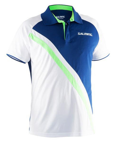 Salming Performance Polo white shirt with navy-gecko green band - Hutkay.fit