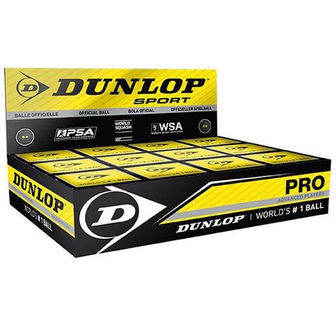 Dunlop Pro Ball - Double Yellow Dot - 12 Pack Balls - Hutkay.fit