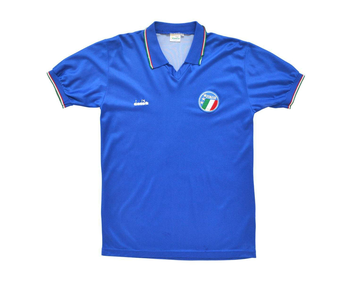 1986-90 Diadora Italy Home Shirt M - Football Shirt Collective