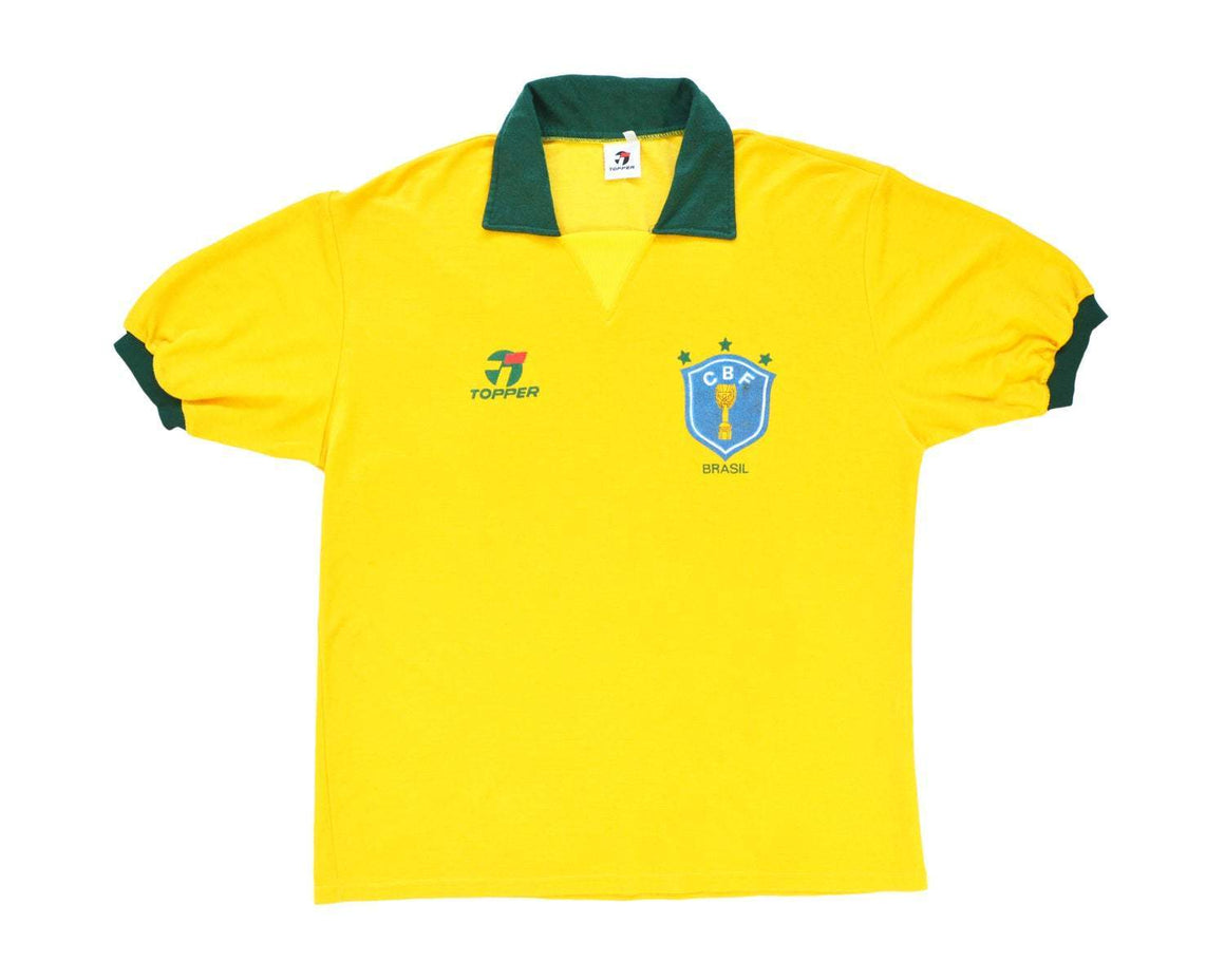 1989-91 Topper Brazil Home Shirt XL - Football Shirt Collective